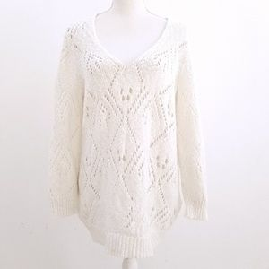 Rebecca Taylor White Open Knit Long Sweater